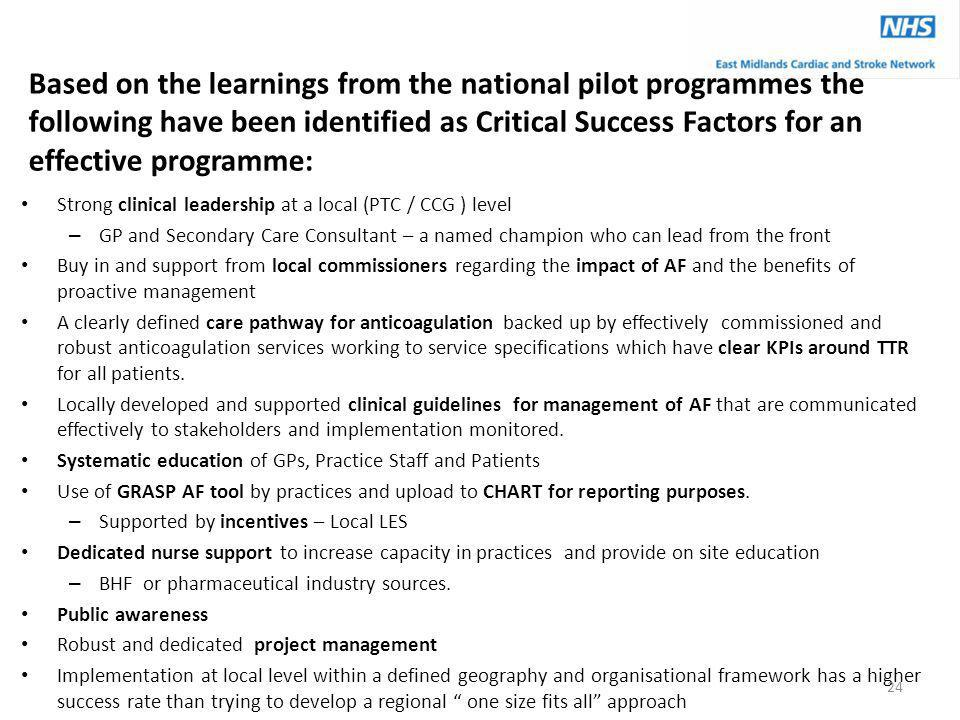 Based on the learnings from the national pilot programmes the following have been identified as Critical Success Factors for an effective programme: