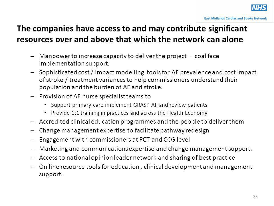 The companies have access to and may contribute significant resources over and above that which the network can alone