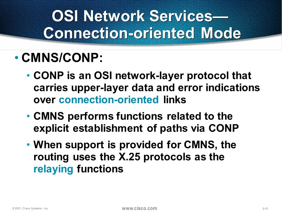 OSI Network Services— Connection-oriented Mode