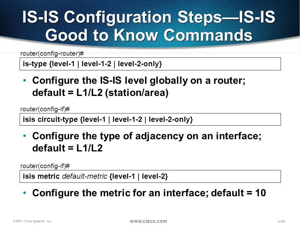 IS-IS Configuration Steps—IS-IS Good to Know Commands
