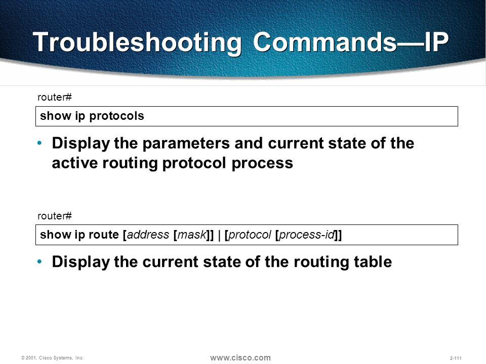 Troubleshooting Commands—IP