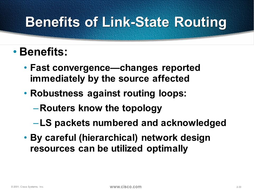 Benefits of Link-State Routing