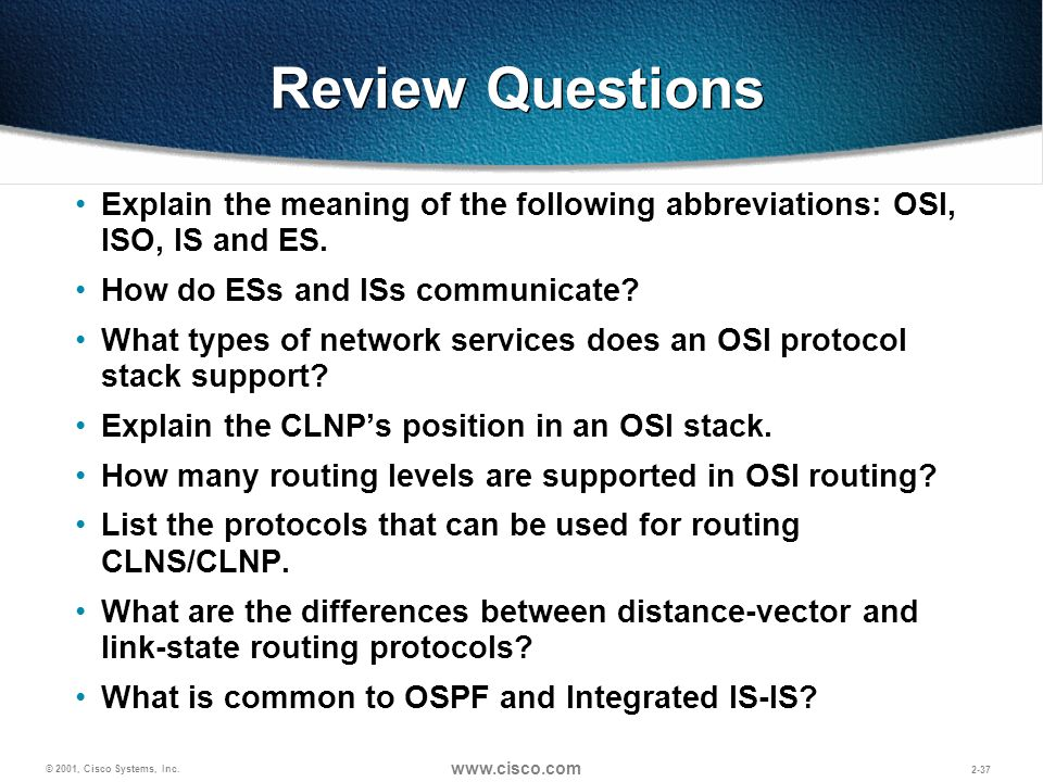 Review Questions Explain the meaning of the following abbreviations: OSI, ISO, IS and ES. How do ESs and ISs communicate