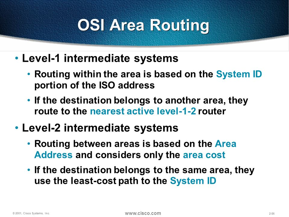 OSI Area Routing Level-1 intermediate systems