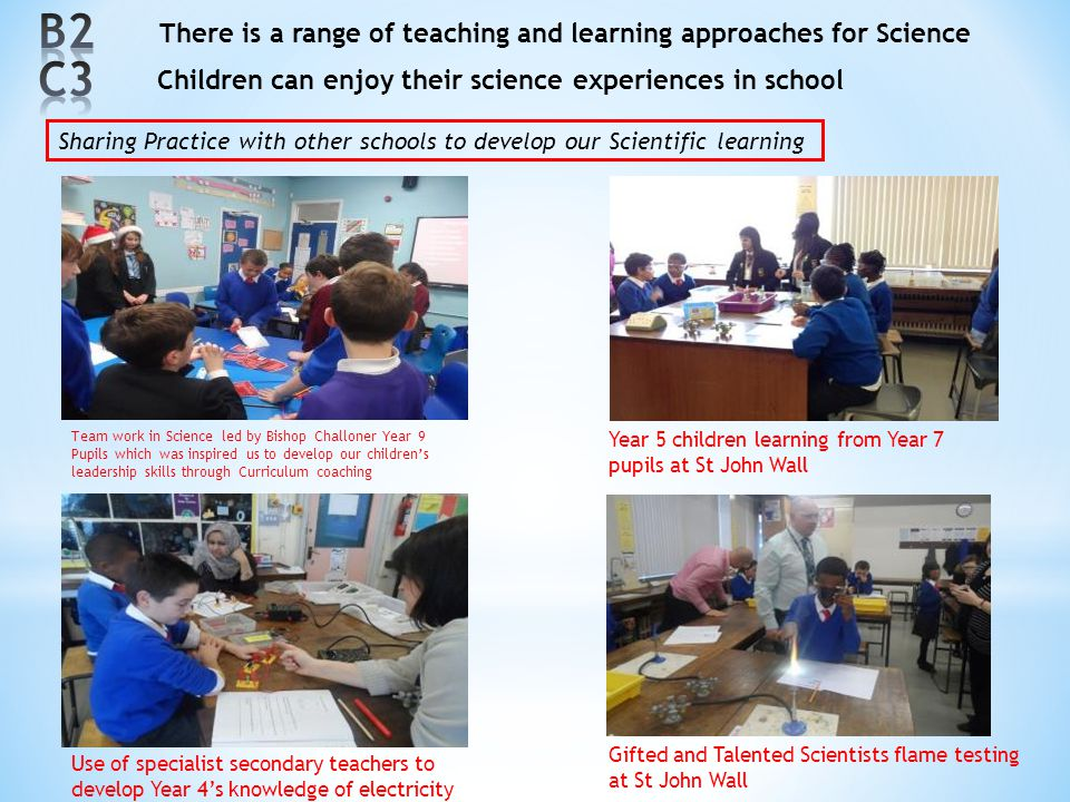 B2 C3 There is a range of teaching and learning approaches for Science