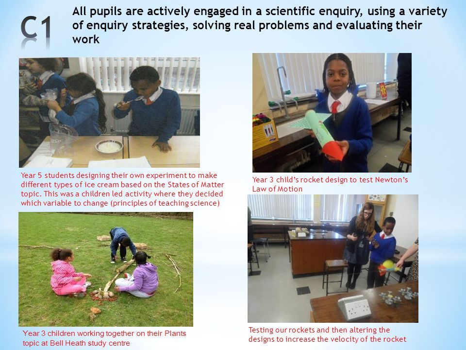 All pupils are actively engaged in a scientific enquiry, using a variety of enquiry strategies, solving real problems and evaluating their work