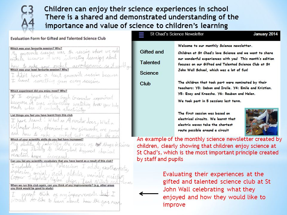 C3 A4 Children can enjoy their science experiences in school