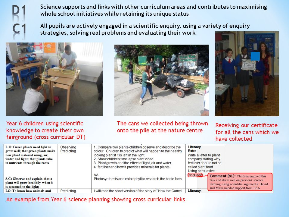 D1 Science supports and links with other curriculum areas and contributes to maximising whole school initiatives while retaining its unique status.