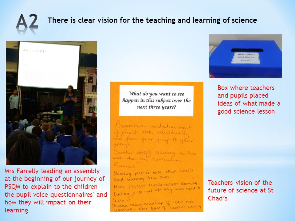 A2 There is clear vision for the teaching and learning of science