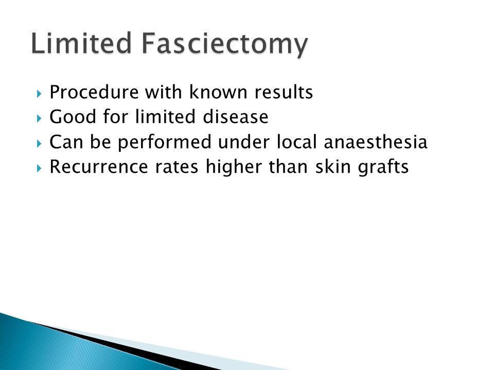 Limited Fasciectomy Procedure with known results