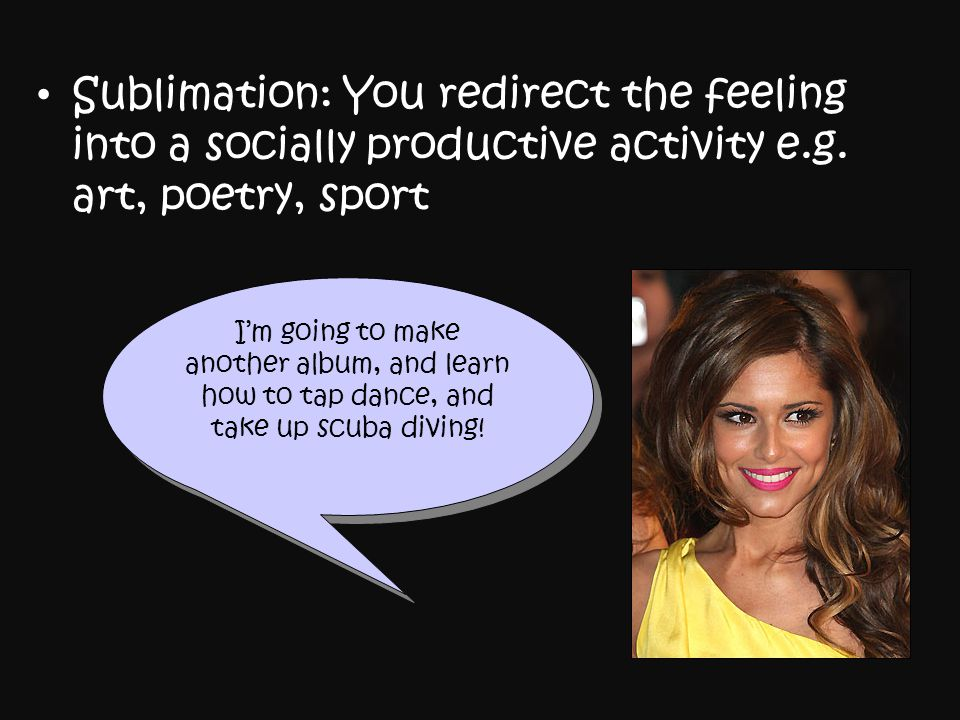 Sublimation: You redirect the feeling into a socially productive activity e.g. art, poetry, sport