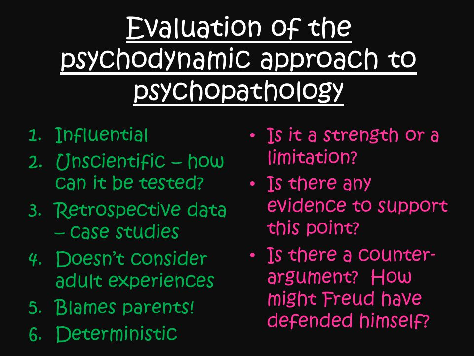 Evaluation of the psychodynamic approach to psychopathology