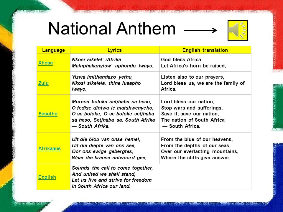 Lyric lyrics to family of god : Our Country South Africa. - ppt video online download