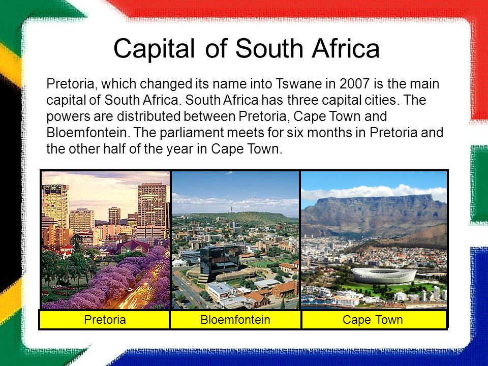 Our Country South Africa Ppt Video Online Download - What is the capital of south africa
