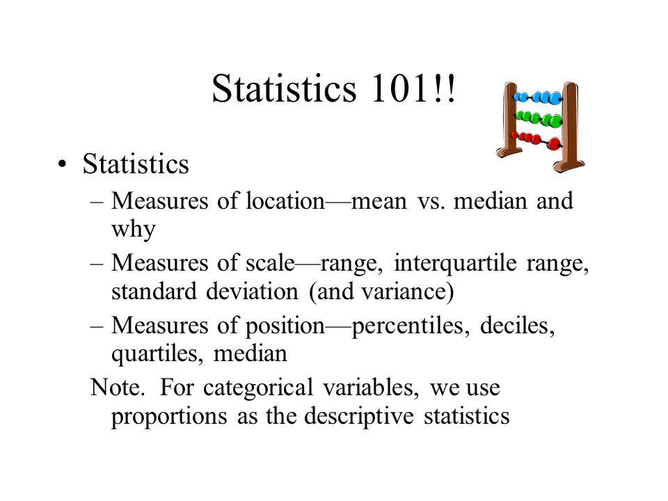 Statistics 101!! Statistics
