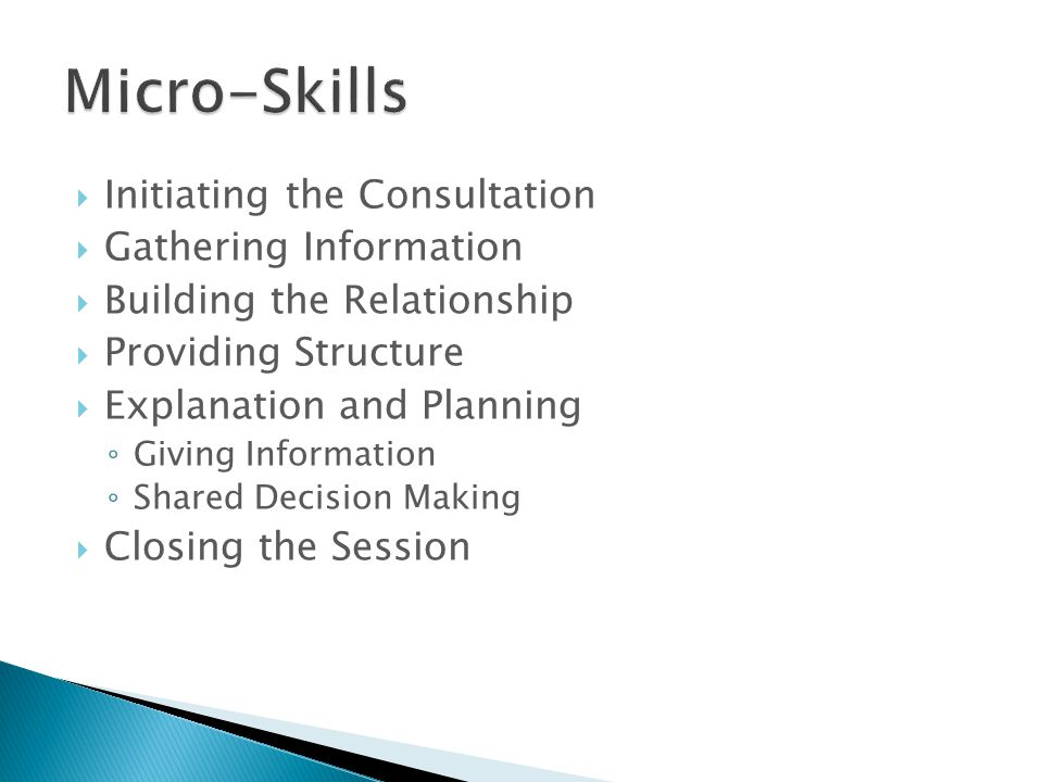 Micro-Skills Initiating the Consultation Gathering Information