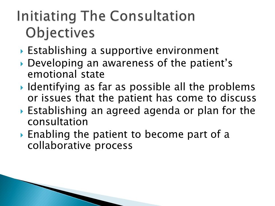 Initiating The Consultation Objectives