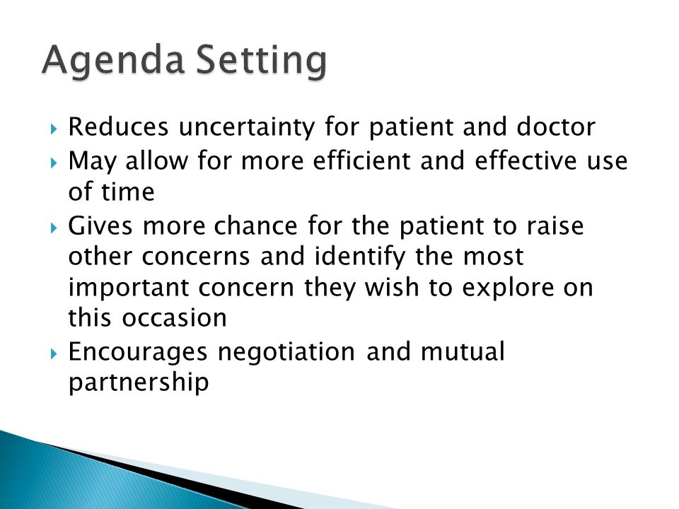 Agenda Setting Reduces uncertainty for patient and doctor