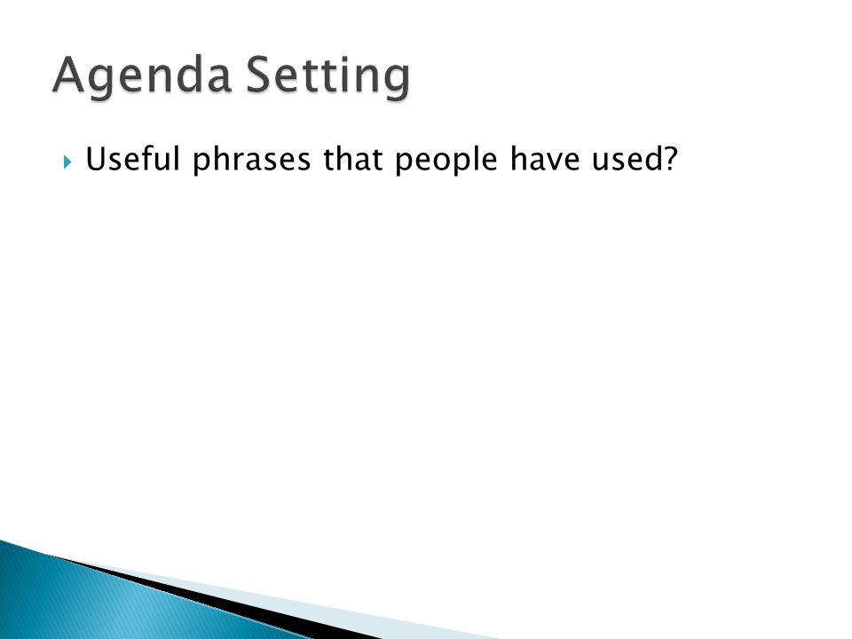Agenda Setting Useful phrases that people have used