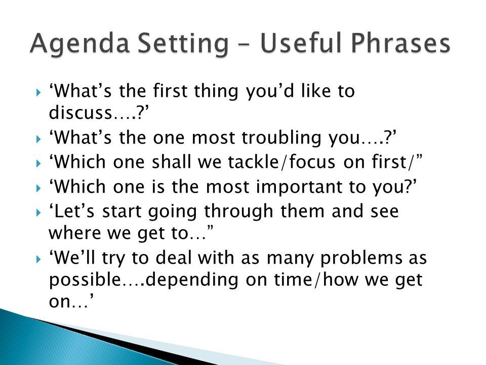 Agenda Setting – Useful Phrases