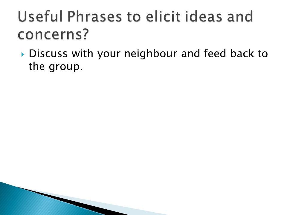 Useful Phrases to elicit ideas and concerns