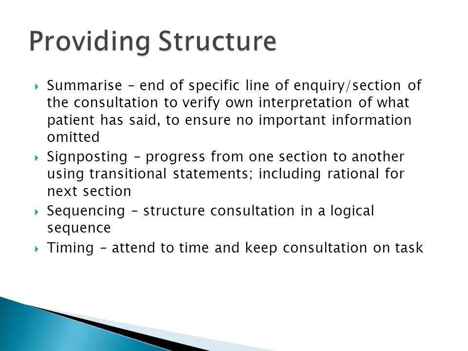 Providing Structure