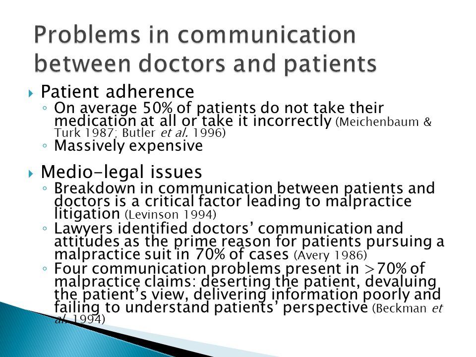 Problems in communication between doctors and patients
