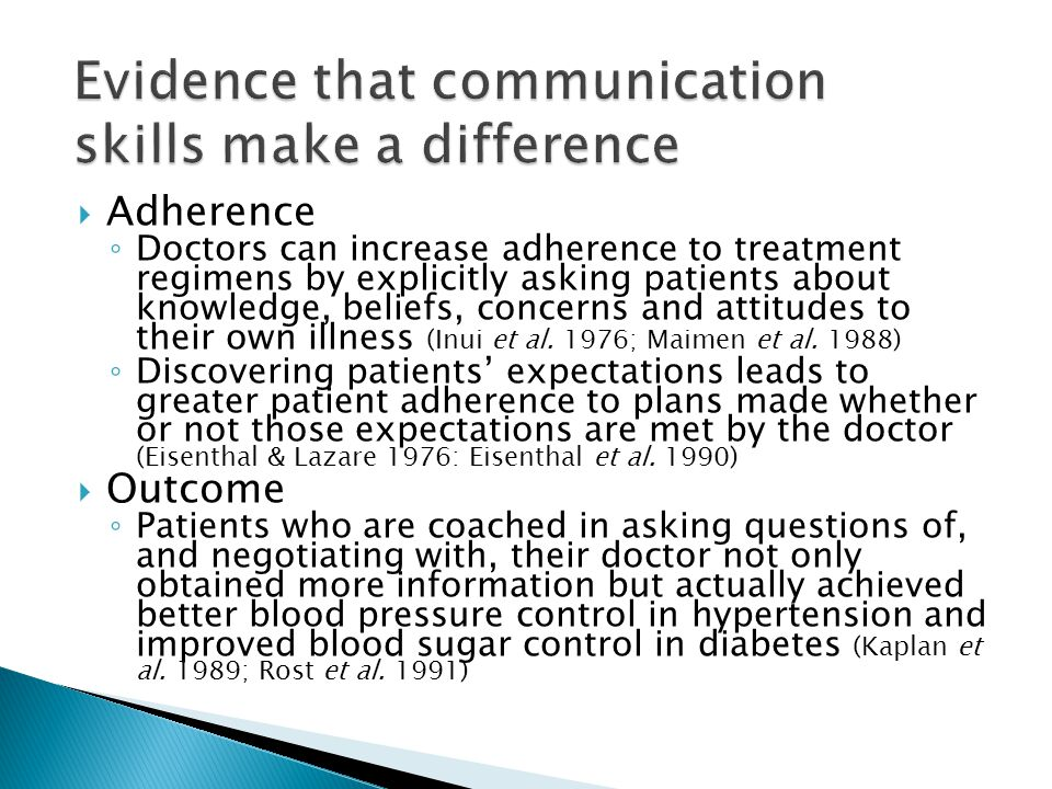 Evidence that communication skills make a difference