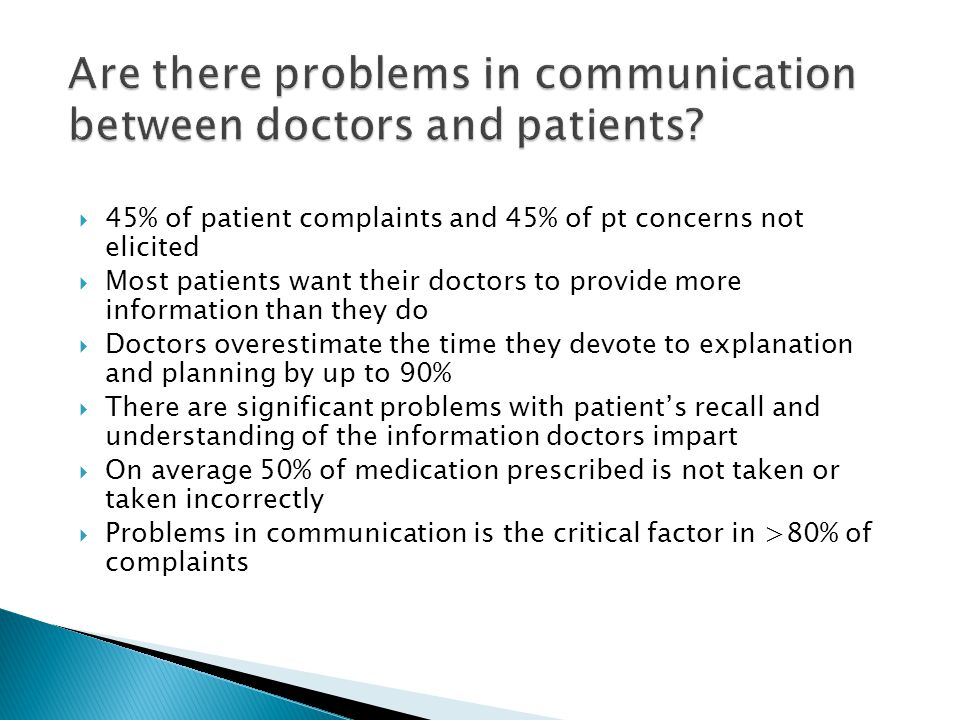 Are there problems in communication between doctors and patients