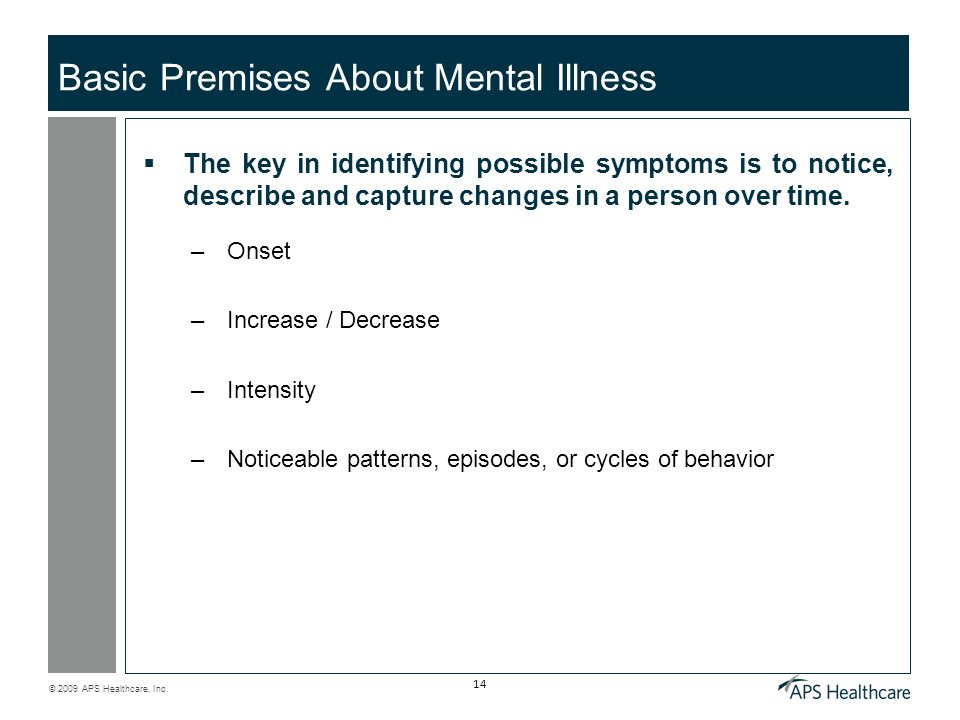 Basic Premises About Mental Illness