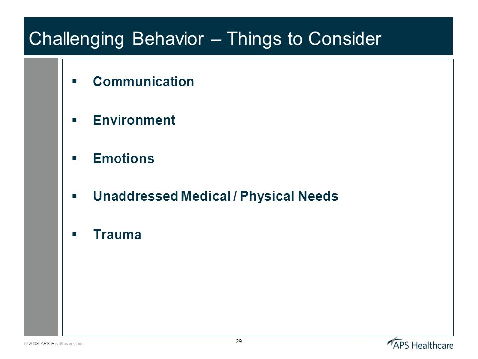 Challenging Behavior – Things to Consider