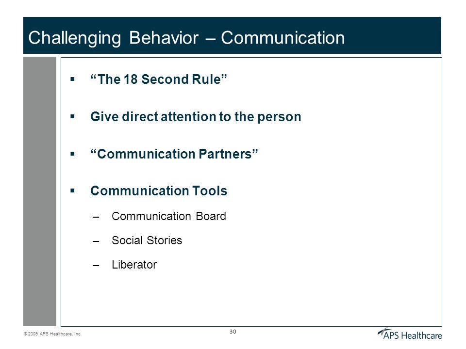 Challenging Behavior – Communication