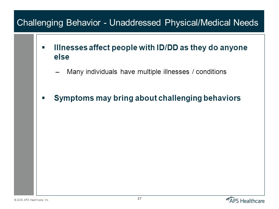 Challenging Behavior - Unaddressed Physical/Medical Needs