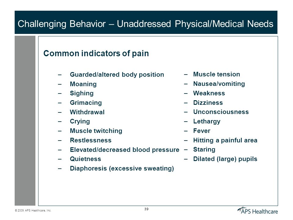Challenging Behavior – Unaddressed Physical/Medical Needs