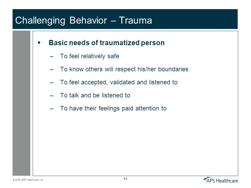 Challenging Behavior – Trauma