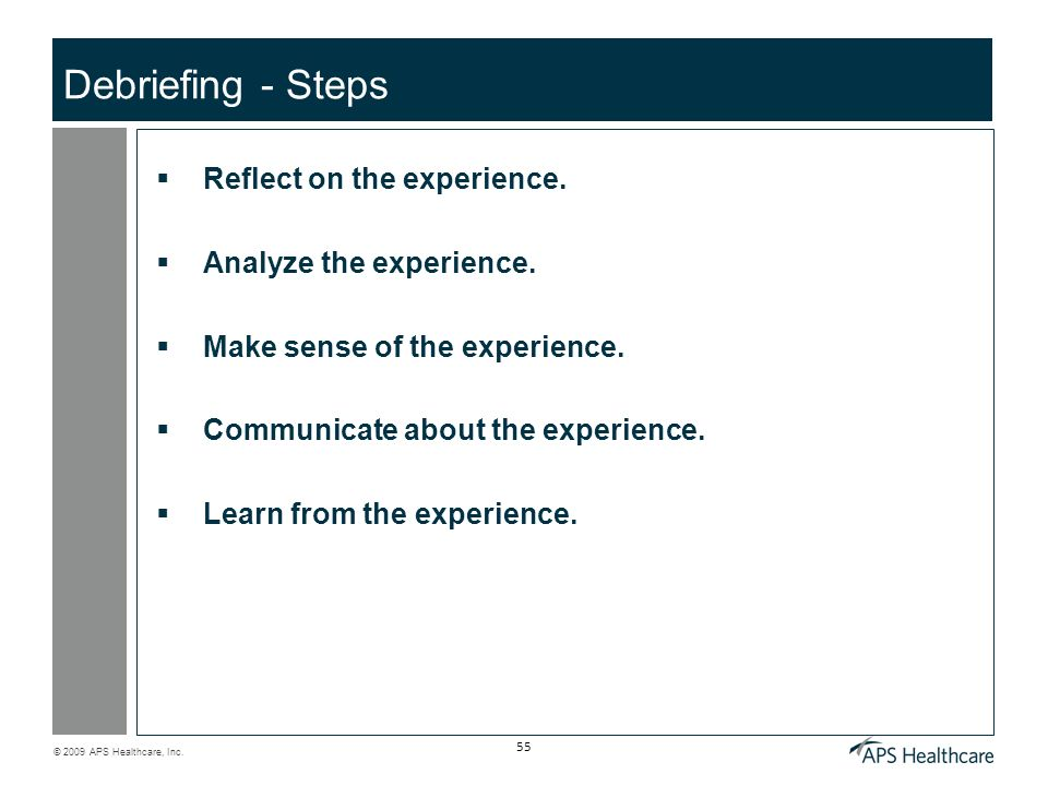 Debriefing - Steps Reflect on the experience. Analyze the experience.