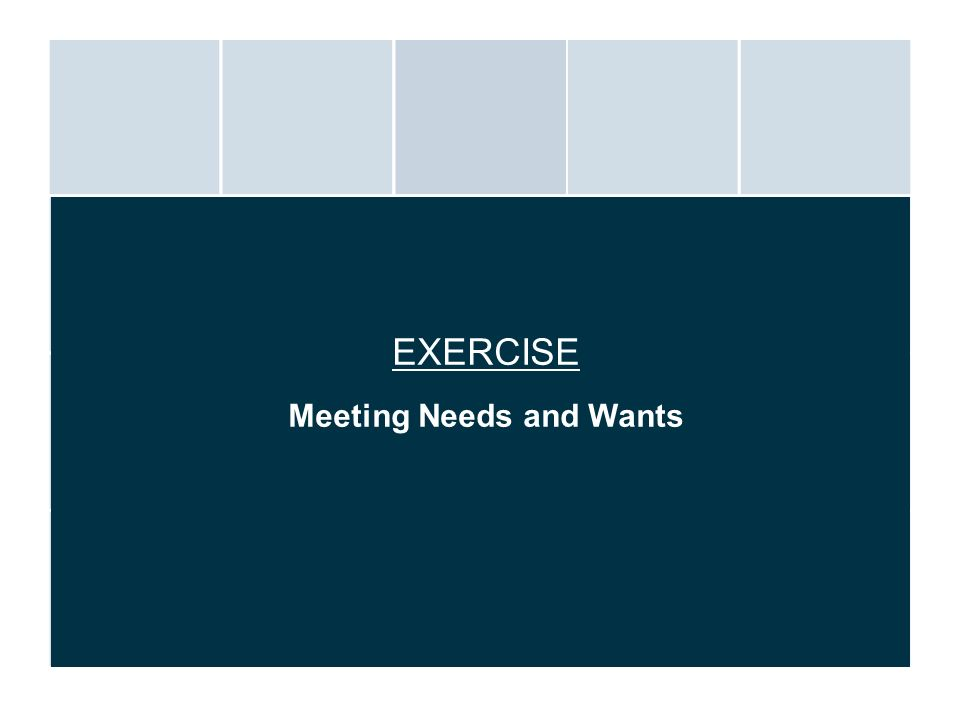 Meeting Needs and Wants