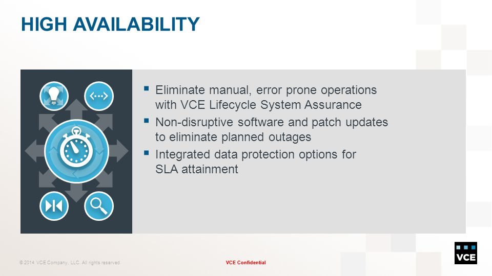High Availability Eliminate manual, error prone operations with VCE Lifecycle System Assurance.