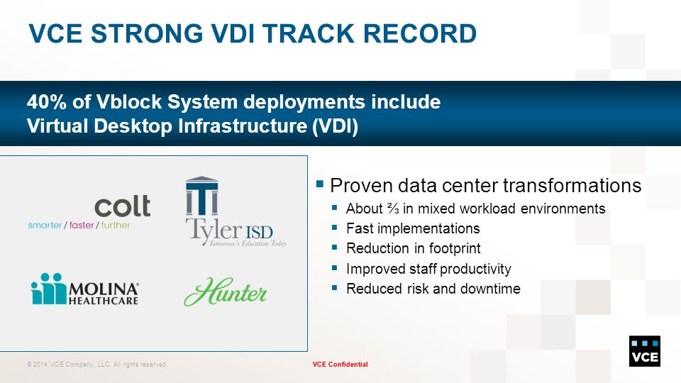 VCE Strong VDI Track Record