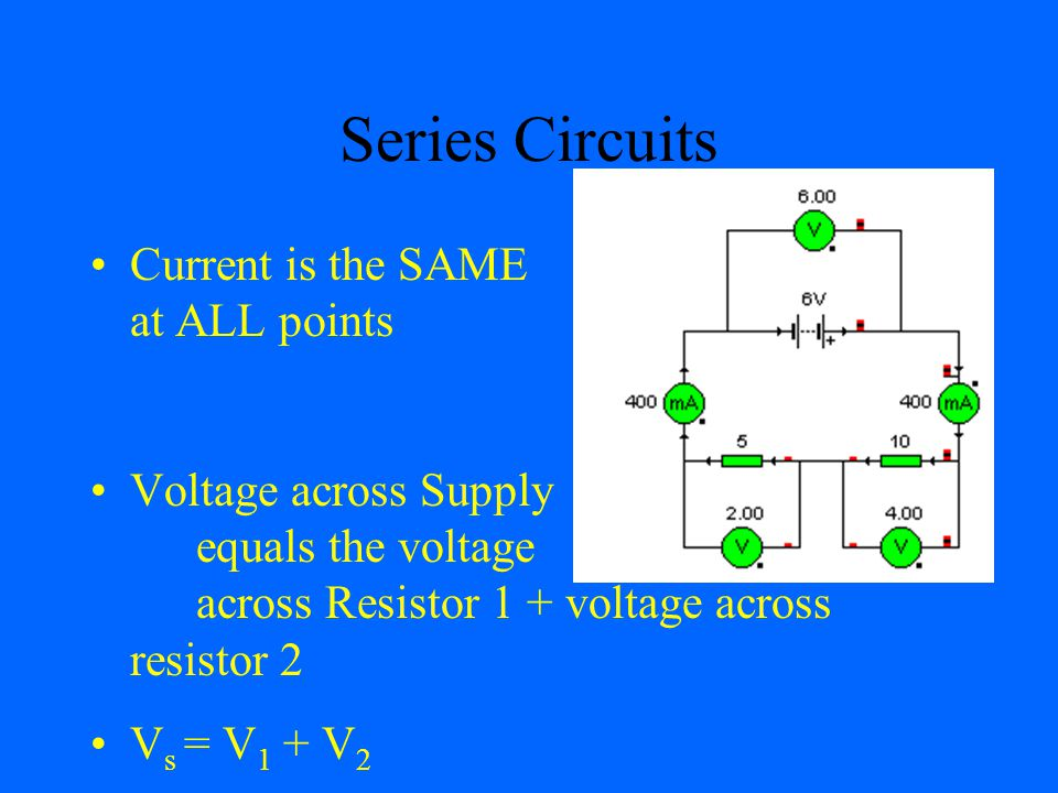 Series Circuits Current is the SAME at ALL points