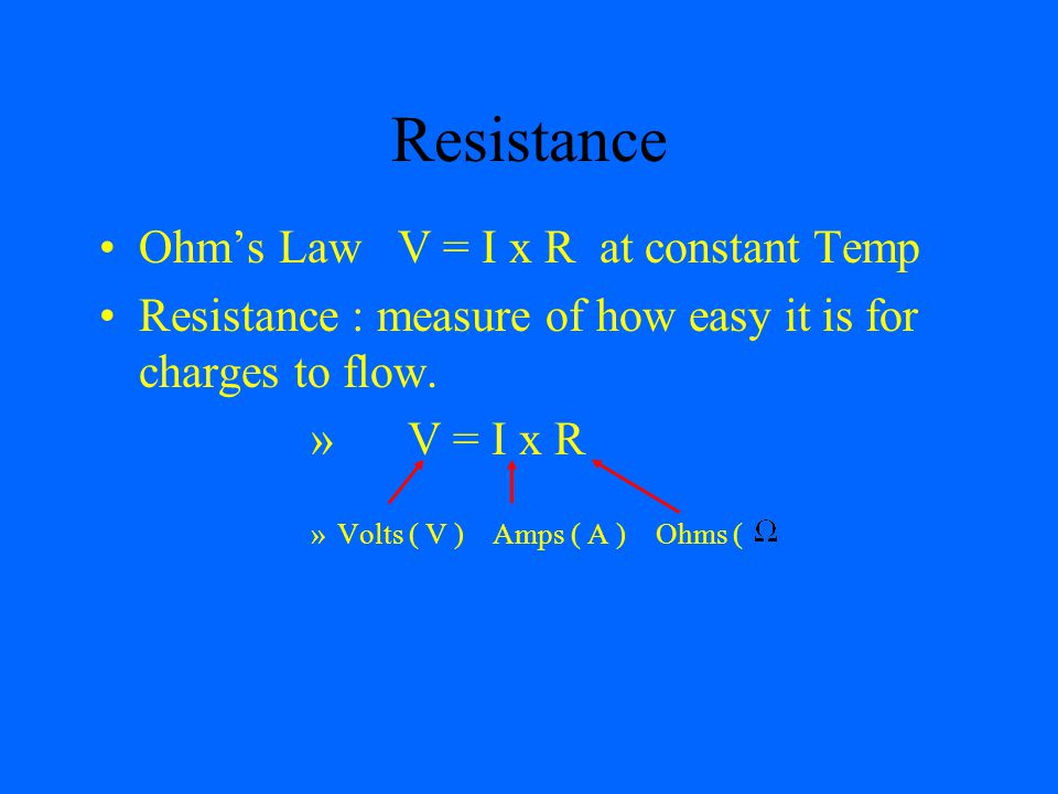 Resistance Ohm's Law V = I x R at constant Temp