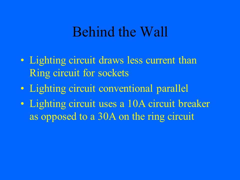 Behind the Wall Lighting circuit draws less current than Ring circuit for sockets. Lighting circuit conventional parallel.