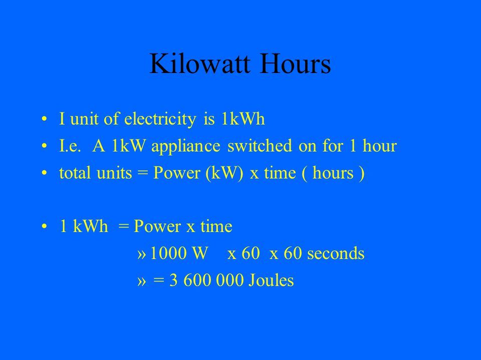 Kilowatt Hours I unit of electricity is 1kWh