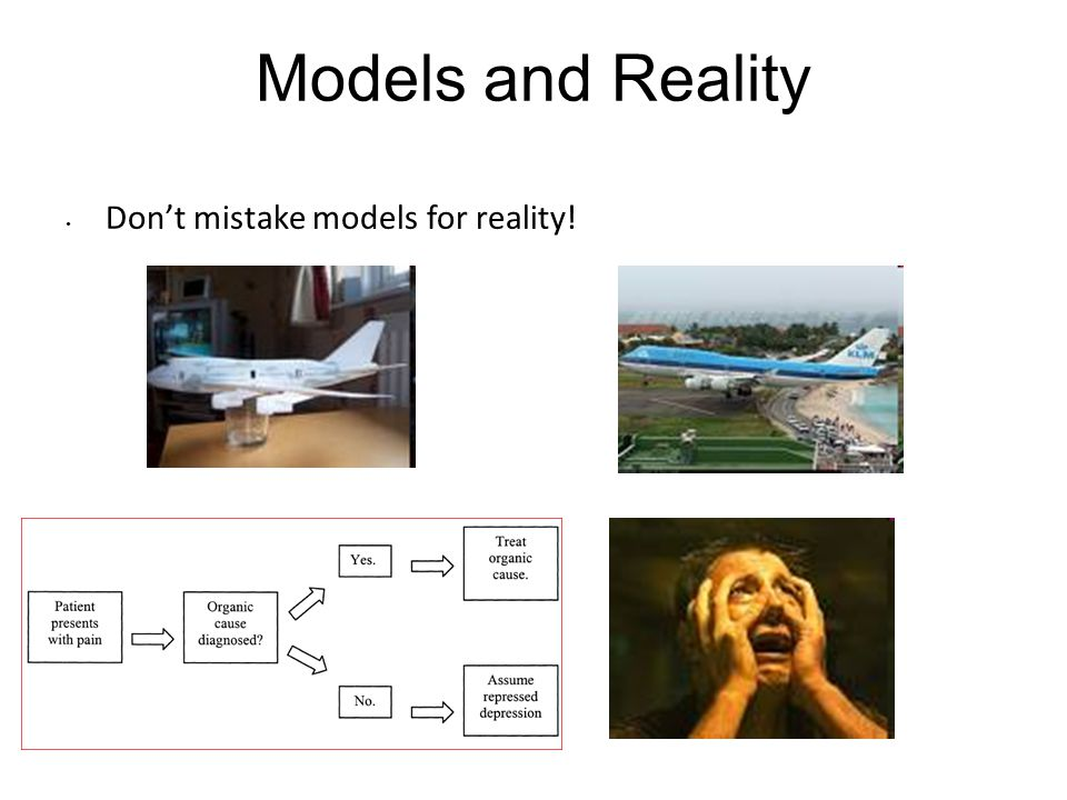Models and Reality Don't mistake models for reality!