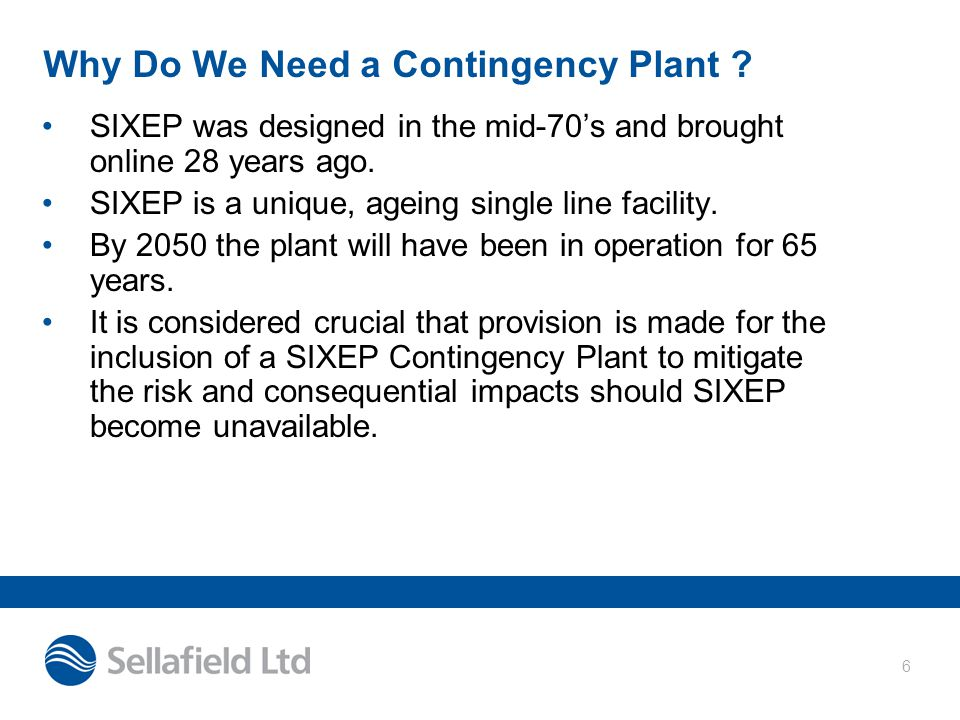 Why Do We Need a Contingency Plant