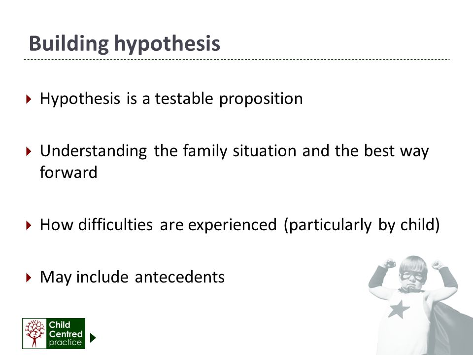 Building hypothesis Hypothesis is a testable proposition