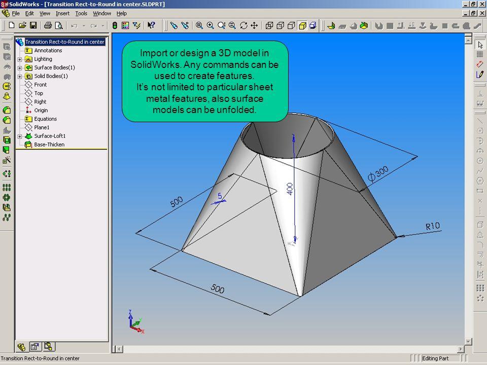 Import or design a 3D model in SolidWorks