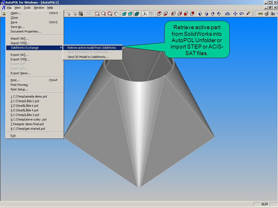Retrieve active part from SolidWorks into AutoPOL Unfolder or import STEP or ACIS-SAT files.