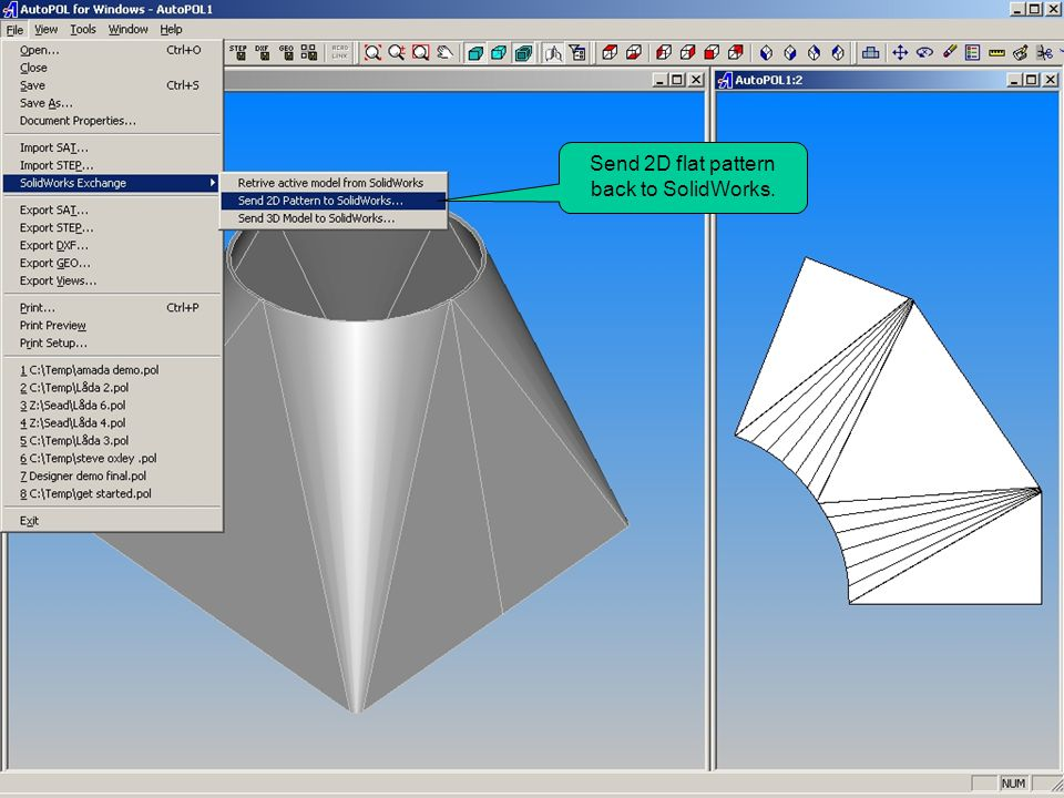 Send 2D flat pattern back to SolidWorks.