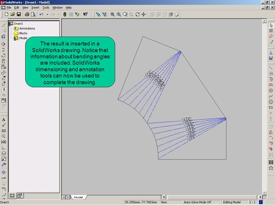 The result is inserted in a SolidWorks drawing